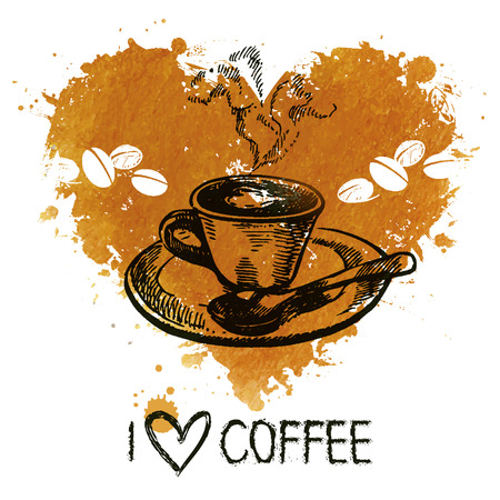 Hand drawn vintage coffee background with splash watercolor heart and sketch illustration Vector