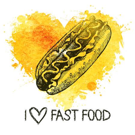 Fast food background with splash watercolor heart. Hand drawn sketch illustration. Menu design