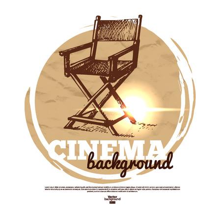 director's chair: Movie cinema banner with hand drawn sketch illustration
