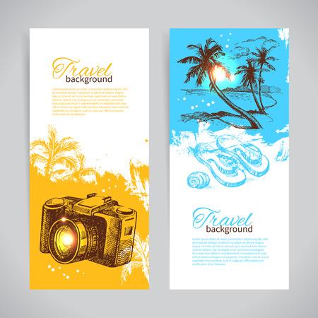 横幅旅游套装彩色热带飞溅背景。带有手绘素描插图的节日横幅