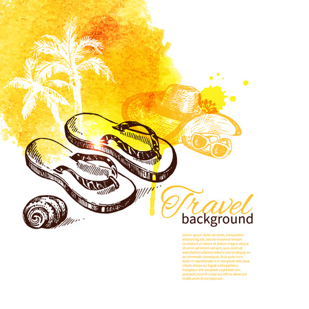 flipflops: Travel and holiday background. Hand drawn sketch watercolor illustration  Illustration