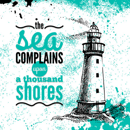 Travel grunge background. Sea nautical design. Hand drawn textured sketch illustration. Typographic design  Vector