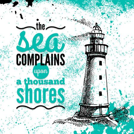 Travel grunge background. Sea nautical design. Hand drawn textured sketch illustration. Typographic design  Vector