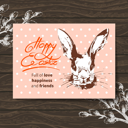 Retro Easter card. Sketch watercolor Easter rabbit. Hand drawn illustration wooden background Vector