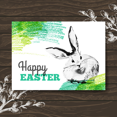 Easter card. Sketch watercolor Easter rabbit. Hand drawn illustration wooden background Vector