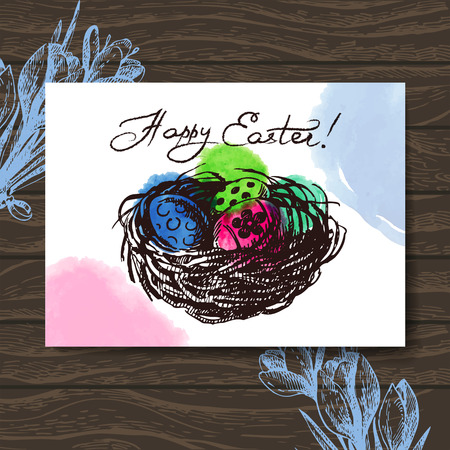 Vintage Easter greeting card, hand drawn sketch illustration wooden background Vector