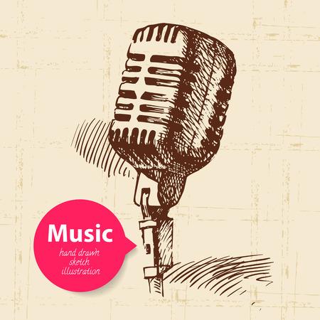 microfono de radio: La música de fondo de la vendimia. Dibujado a mano ilustración boceto Vectores