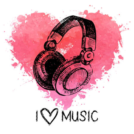Music background with splash watercolor heart and sketch headphones. Hand drawn illustration Vector