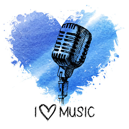 Music background with splash watercolor heart and sketch microphone. Hand drawn illustration Vector