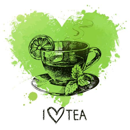 chamomile tea:  Tea background with splash watercolor heart and sketch . Hand drawn illustration. Menu design