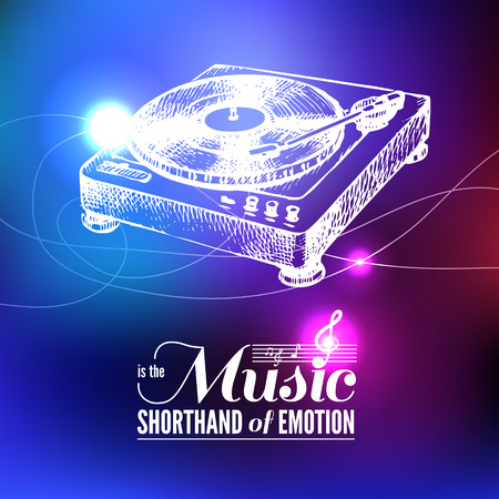Music background. Hand drawn illustration and typography design  Vector