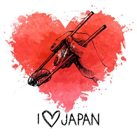 Hand drawn sketch sushi illustration with splash watercolor heart. I love Japan Vector