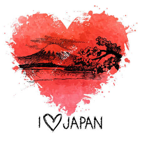 Hand drawn sketch Japanese illustration with splash watercolor heart   Vector