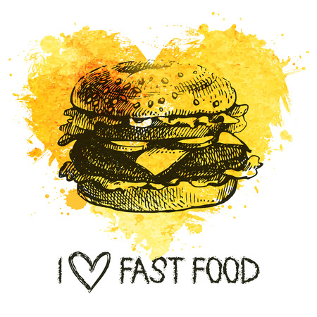 Fast food background with splash watercolor heart. Hand drawn sketch illustration. Menu design  Vector