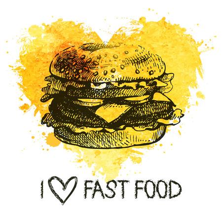 Fast food background with splash watercolor heart. Hand drawn sketch illustration. Menu design  Vector