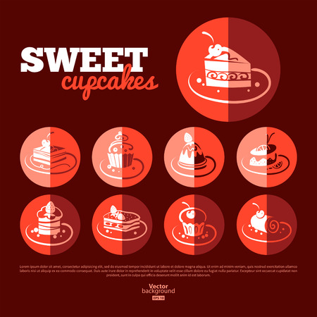 Sweet cupcakes. Flat icon set. Menu design Vector