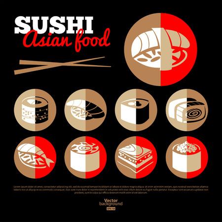Japan sushi. Asian food.  Flat icon set. Menu design