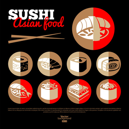 sushi set: Japan sushi. Asian food.  Flat icon set. Menu design