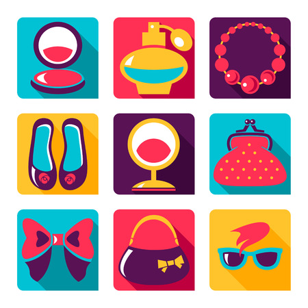 Flat icons. Set of woman fashion symbols Vector