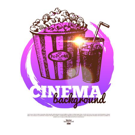 Movie cinema banner with hand drawn sketch illustration Vector