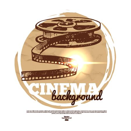 Vintage movie cinema banner with hand drawn sketch illustration Vector
