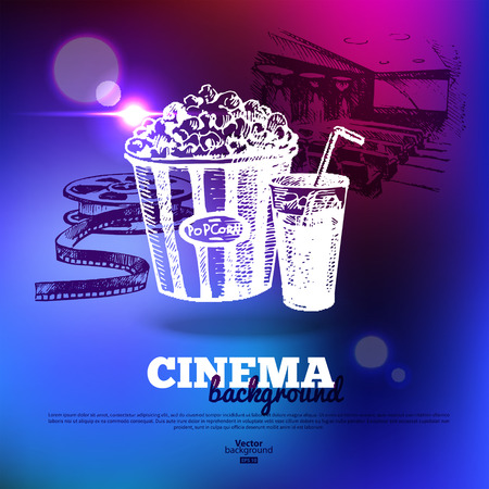 Movie cinema poster  Background with hand drawn sketch illustrations and light effects  Vector