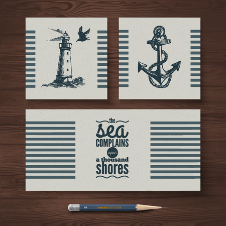 Vector identity set of travel banners  Sea nautical design templates and hand drawn sketch illustrations Vector