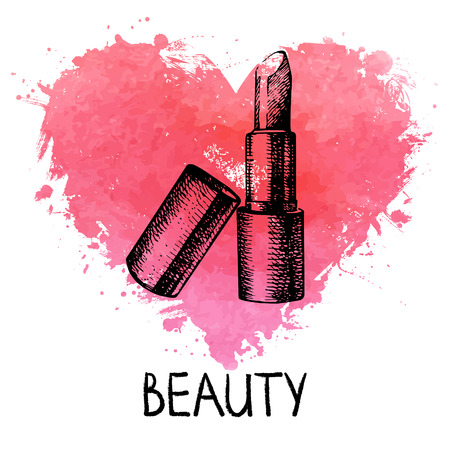 heart sketch: Beauty sketch background with splash watercolor heart  Cosmetic accessories  Vintage hand drawn vector illustration