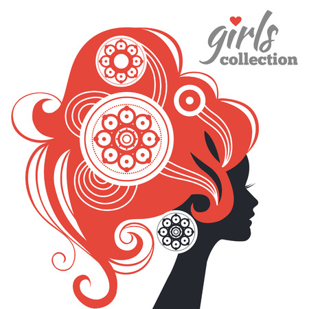 nature woman: Beautiful woman silhouette with flowers  Girls collection Illustration