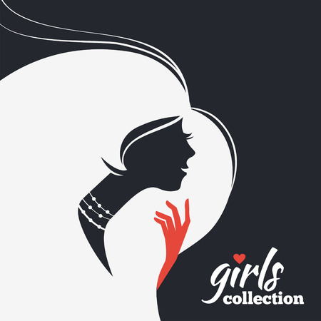 beauty woman: Beautiful woman silhouette  Girls collection Illustration