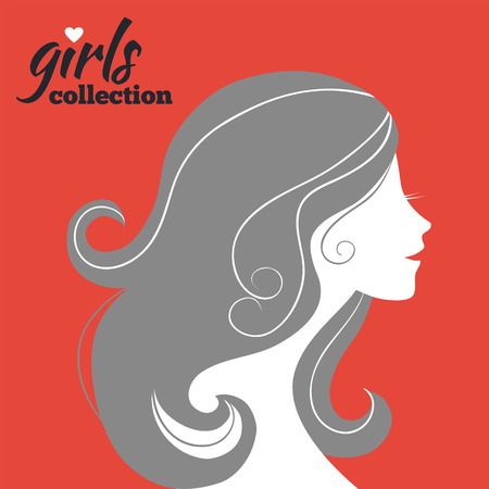 Beautiful woman silhouette  Girls collection Vector