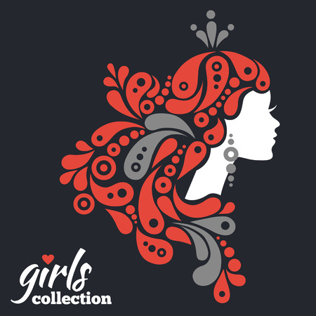 stylish women: Beautiful woman silhouette with flowers. Girls collection