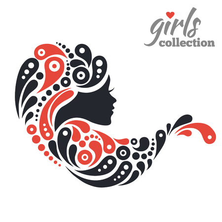 artistic woman: Beautiful woman silhouette with flowers. Girls collection