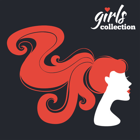Beautiful woman silhouette. Girls collection Vector