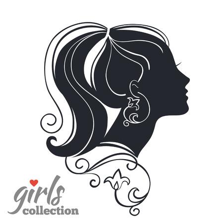 花を持つ美しい女性のシルエット。ガールズ コレクション
