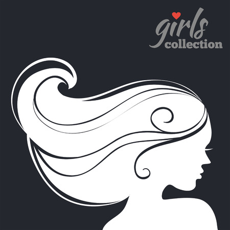 woman profile: Beautiful woman silhouette. Girls collection