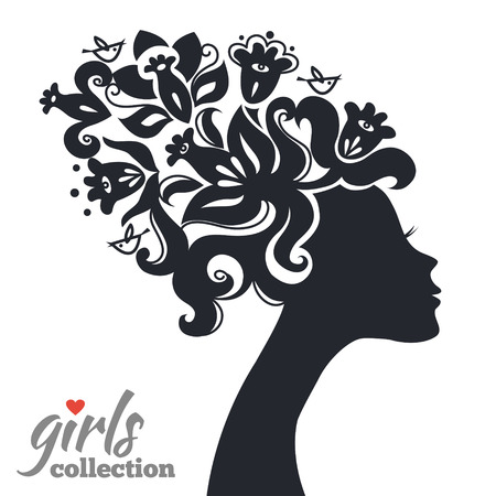 Beautiful woman silhouette with flowers. Girls collection Vector