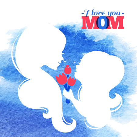 babysit: Card of Happy Mothers Day. Beautiful mother silhouette with her daughter and flowers. Watercolor background