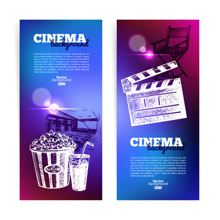 Set of movie cinema banners. Background with hand drawn sketch illustrations and light effects  Vector