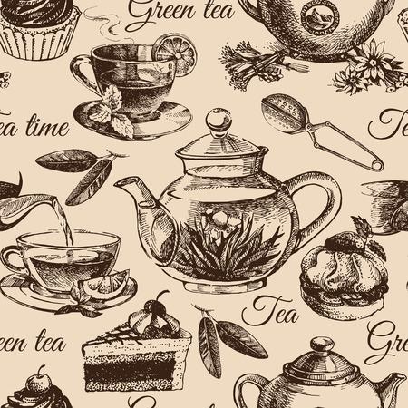 Tea and cake seamless pattern. Hand drawn sketch illustration. Menu design Vector