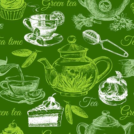 tea ceremony: Tea and cake seamless pattern. Hand drawn sketch illustration. Menu design