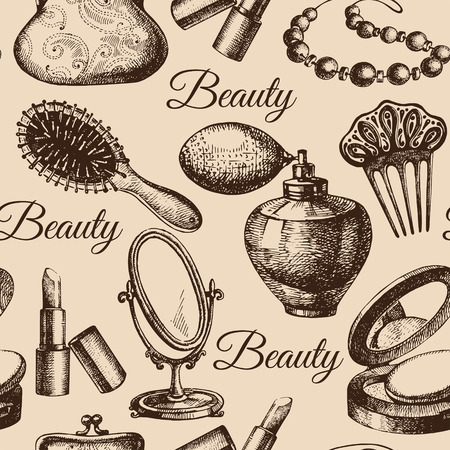cosmetology: Beauty seamless pattern. Cosmetic accessories. Vintage hand drawn sketch vector illustrations