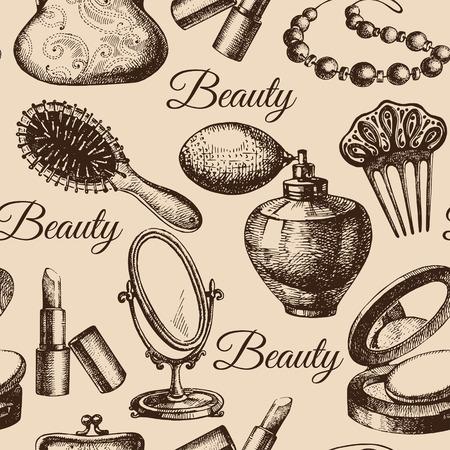 Schoonheid naadloos patroon. Cosmetische accessoires. Vintage hand getekende schets vector illustraties Vector Illustratie