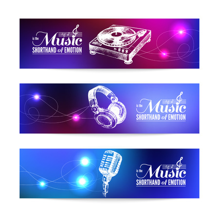 Set of music banners. Hand drawn illustrations and typography design  Vector