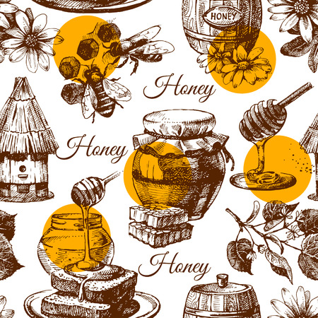 Honey seamless pattern with hand drawn sketch illustration Vector