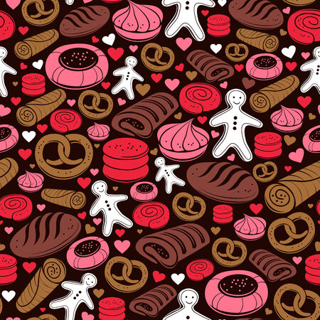 Candy seamless pattern. Set of sweet bakery icons Vector