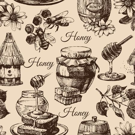 手描きのスケッチ図と蜂蜜のシームレスなパターン  イラスト・ベクター素材