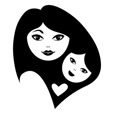 babysit: Mother and baby silhouettes