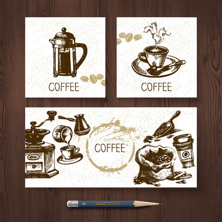Vector identity set of coffee banners. Menu design templates with hand drawn sketch illustrations  Vector