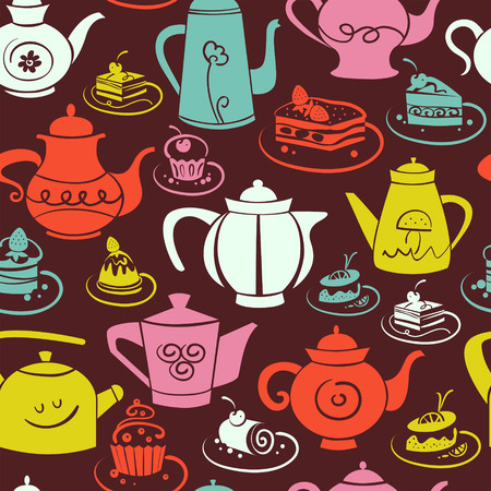 Coffee and tea seamless pattern. Set of sweet cakes and teapots icons Vector